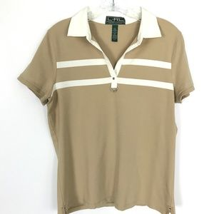 Ralph Lauren Action tan and ivory polo Size L